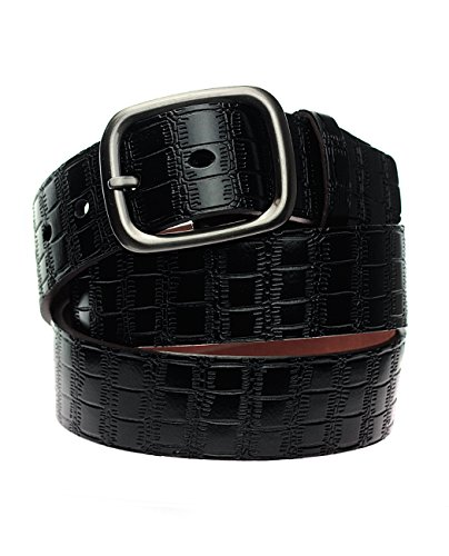 NYfashion101 Brushed Chrome Buckle Faux Crocodile Print Genuine Leather Belt