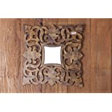 MIRALL DECOR DECORATIVE SQUARE HAND CARVED ANTIQUE FINISH WALL MIRROR FOR HOME DECOR