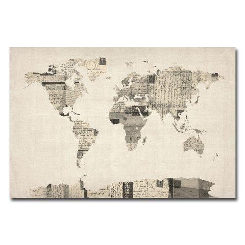 Trademark Fine Art Vintage Postcard World Map by Michael Tompsett Canvas Wall Art, 30x47-Inch by Trademark Fine Art