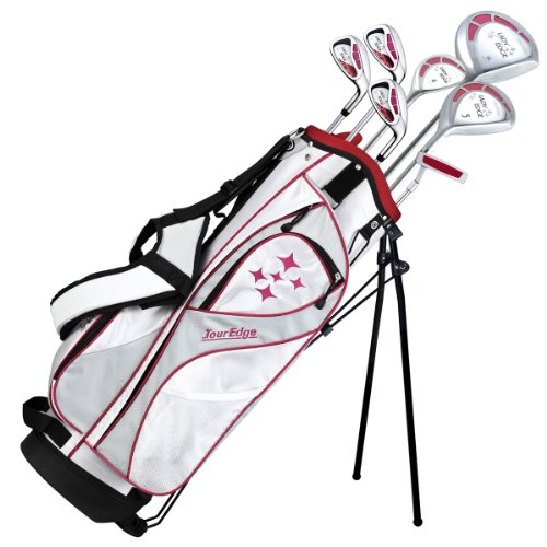 Tour Edge 2013 Golf Club Lady Edge Set, Left Hand, Graphite, Ladies, Starter Set, White/Red, 1-Inch