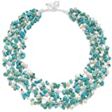 "HinsonGayle ""Kayla"" 5-Strand Handwoven Turquoise and White Freshwater Cultured Pearl Necklace (Artisan Collection)"