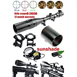 Ledsniper® Brand New Hunting Rifle Scope 6-24x50 AOE Red & Green Illuminated Crosshair Gun Scopes with Free Mounts