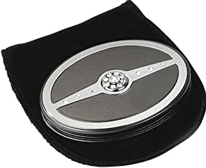 Danielle Oval Compact Mirror x5 Magnified Pearl Black/Chrome