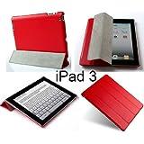 Invision ® Das Neue Apple iPad 3 & 4 Smart Fall und Abdeckung - Full Grade Rot Leder (PU) mit Satin Inner Cloth - PREMIUM QUALITÄT & VORGESETZTEN ENTWURF-Funktionen, Automatisches Schlaf-Wach-Funktion.