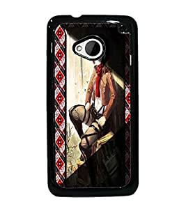 PrintDhaba Stylish Girl D-4967 Back Case Cover for HTC ONE M7 (Multi-Coloured)