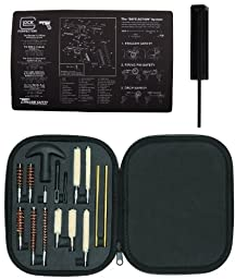 Ultimate Arms Gear Complete Glock Pistol Armorer Kit Includes: Glock Original Cleaning Work Tool Bench Gun Mat + Glock GT03374 Pro Disassembly 3/32 Punch Armorers Gunsmith Takedown Tool + Professional Tactical Cleaning Tube Chamber Barrel Care Supplies Ki