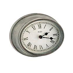 Parisian Metal & Glass Metro Oval Wall Clock - Grey