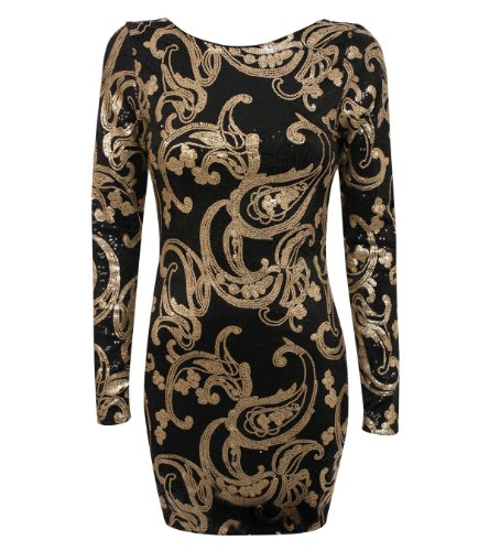 Pilot cecile lange Ärmel Pailletten-Kleid bodycon in Gold, größe 36