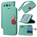 Case for Galaxy S3, By Ailun,Wallet Case,PU Leather Case,Cut,Credit Card Holder,Flip Cover Skin,(Green)