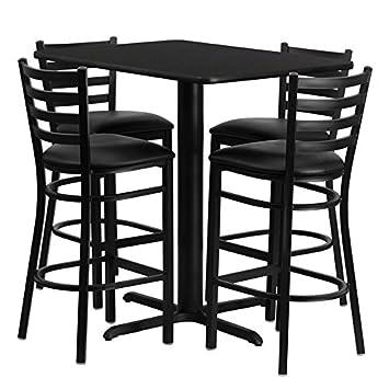 "Flash Furniture Rectangular Laminate Table Set with 4 Ladder Back Metal Bar Stools and Black Vinyl Seat, 24 x 42"""