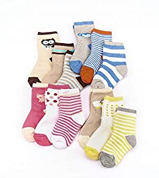 Cartoon Cute Soft Kid Thick Warm Cotton Grip Boat Socks 12 Pairs