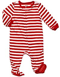 Footed Fleece Sleeper Red & White stripes 12-18 M
