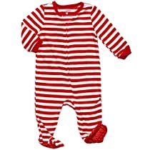 Footed Fleece Sleeper Red & White stripes 6-12 M