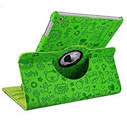 KolorFish iFun Cartoon Designer 360 Degree Rotating Leather Flip Stand Case Cover for iPad Air 2 - Green