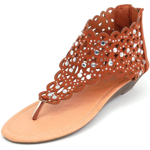 Luo Luo Womens Wedge Heel Sandals Brown Rhinestone Embellished Thongs 5.5 M Us