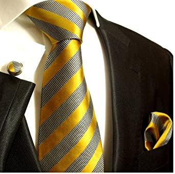 Paul Malone Necktie, Pocket Square and Cufflinks 100% Silk Gray Gold Stripes