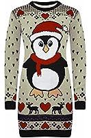 Be Jealous Women's Snowman Xmas Christmas Tree Knitted Dress Sweater Long Jumper Top