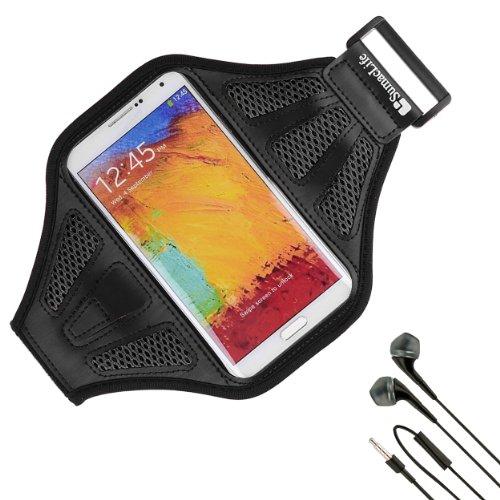 Sumaclife Armband - Jet Black Sport Workout Neoprene Mesh W/ Earphone Holder Fits Htc One M8 Android Phone + Black Handsfree Microphone Headphones