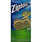 Ziploc Sandwich Bag Value Pack- 90 count (Pack of 3)