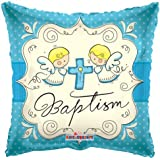 """Square 18"""" Baptism Foil Helium Balloon (Not Inflated) - Blue with Cross & Angels"""