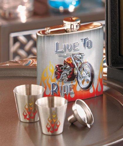 Live to Ride Biker Flask Shotglass Set, Motorcycle Flask, Harley, Stainless Steel!