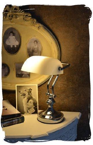 BankerslampSchreibtischlampeBanker-LampeBanker-LeuchtePultleuchte-echter-Klassiker-im-Jugendstil-mit-weiem-Glas