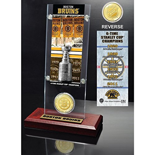 Boston Bruins 6x Stanley Cup Champions Ticket and Bronze Coin Acrylic Display-By BlueTECH