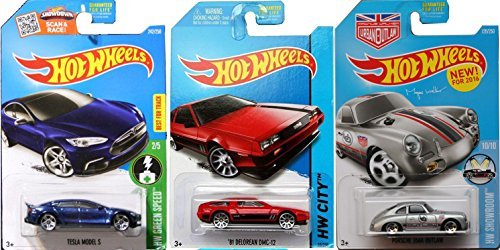 Porsche Tesla Model S DeLorean Hot Wheels Car Set Hot Wheels Porsche 356A Outlaw New Casting in PROTECTIVE CASES (Tesla Model S Hot Wheels compare prices)