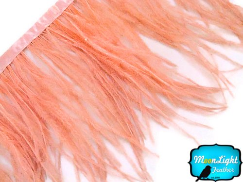 Moonlight Feather PEACH Ostrich Fringe Trim Feather 6 Inch Strip of Ostrich Feathers