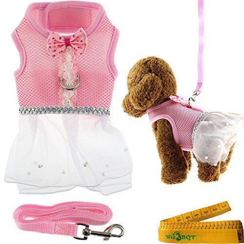Cute Elegant Pink Mesh Dog Cat Pet Vest Harness with Bow tie Lace and White Short Skirt Dress Artificial Pearls and Matching Leash Set for Dogs Cats Pets (Small) (Girl Dog Harness compare prices)