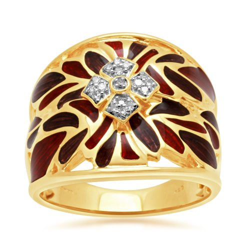 Jewelili Sterling Silver with Multi Colour Enamel Diamond Ring (0.05 Cttw, IJ Colour, I2/I3 Clarity), Size 7