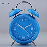"HITO™ 4"" Silent Quartz Analog Twin Bell Alarm Clock with Nightlight and Loud Alarm (Blue)"