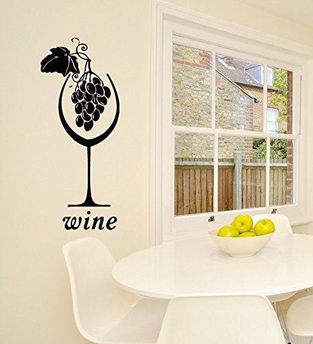 Wall Vinyl Decal Sticker Art Design Wine Glass With Grapes Cafe Kitchen Room Nice Picture Decor Hall Wall Chu187 front-340536