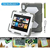 "ACEGUARDER Shockproof Case for Kindle Fire HDX 7"" Rainproof Waterproof Shockproof Kids Proof Case for Kindle Fire HDX 7""(only Fit Kindle Fire HDX 7 2013) (Gifts Outdoor Carabiner + Whistle + Handwritten Touch Pen) (CAMO/BLACK)"