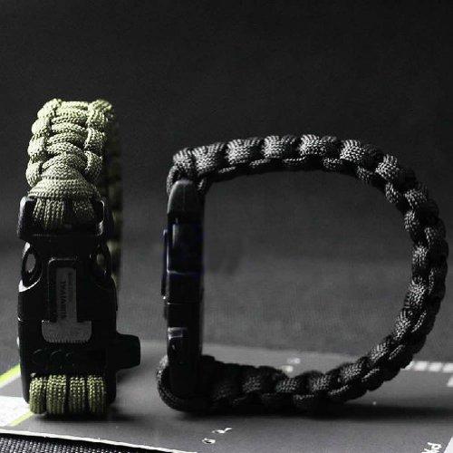 Estone® Survival Paracord Bracelet Flint Fire Starter Scraper Whistle Gear Kits (Bracelet Fire Starter Black) front-398969