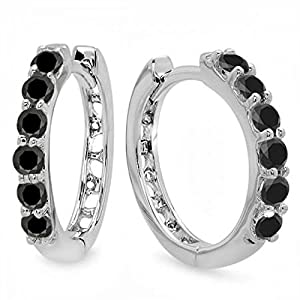 0.33 Carat (ctw) 14k White Gold Round Black Diamond Ladies Huggies Hoop Earrings 1/3 CT
