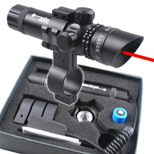 TopOutdoor Tactical Adjustable Red Laser Sight Scope w/ Free 20mm Mount for Hunting Airsoft War Game