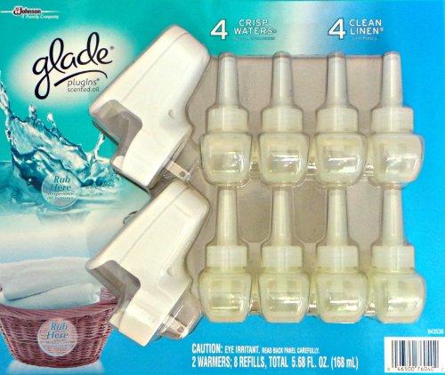 Glade 2 Warmers 8 Refills - 4 Crisp Waters, 4 Clean Linen