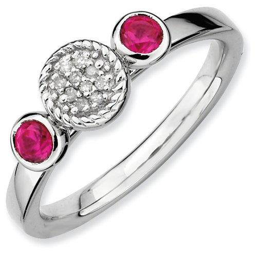 Sterling Silver Stackable Expressions Db Round Cr. Ruby & Dia. Ring (Size 10)