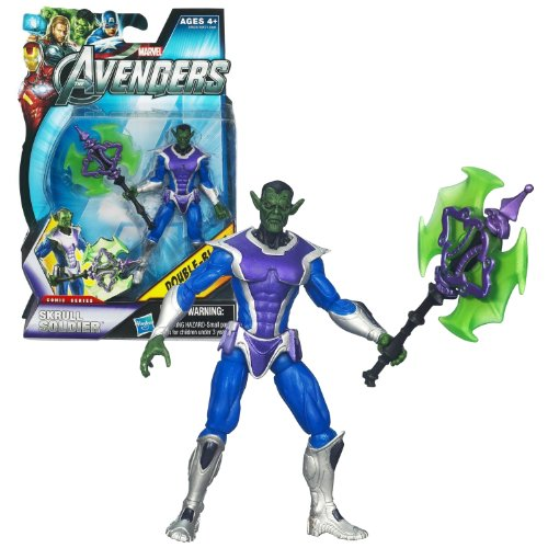 """Hasbro Year 2011 Marvel """"The Avengers"""" Comic Series 4 Inch Tall Action Figure Set #15 - SKRULL SOLDIER with Double-Blade Axe"""