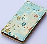 iphone6,6sケース(アイフォンケース6、6s)和柄で高品質の手帳型 西陣織りの金襴 (緑)