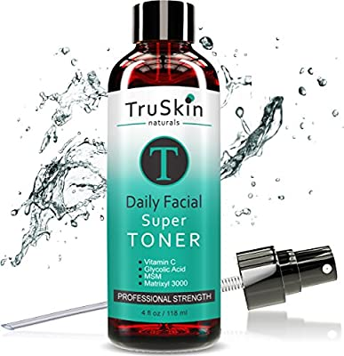 DAILY Facial SUPER Toner for All Skin Types - Contains Glycolic Acid, Vitamin C, Witch Hazel and Organic Anti Aging Ingredients for Sensitive Skin, Combination, Acne, and Even Oily Skin