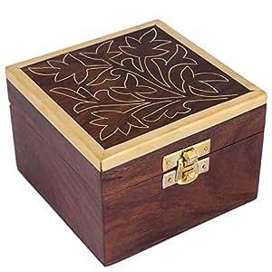 Decorative Wooden Trinket Ring Box Small
