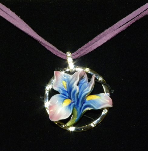 Franz Porcelain Iris flower Rhodium plated brass & porcelain necklace