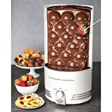 Nostalgia Electrics Auger-Style Chocolate Waterfall with Heated Base and Turn-dial Controls Perfect to Dip Cakes, Fruits and Marshmallows (Color: WHITE)