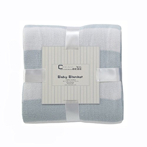 Cream Bebe Striped 100% Cotton Knit Baby Blanket, Blue/White - 1