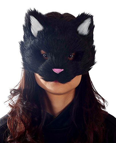 UHC Black Furry Kitty Cat Face Funny Theme Halloween Costume Mask (Black Person Mask compare prices)