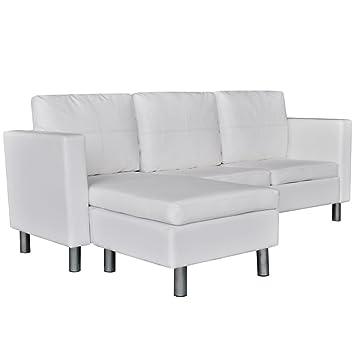Canapé d'angle modulable similicuir blanc