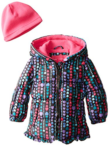 London Fog Baby Girls Printed Ruffle Puffer, Black, 12 Months