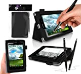 ASUS FonePad Case Cover Folio Skin, BLACK with integrated PropUp Flip-Stand Function for ASUS FonePad ME371MG. Includes BONUS: G-HUB ProPen Stylus